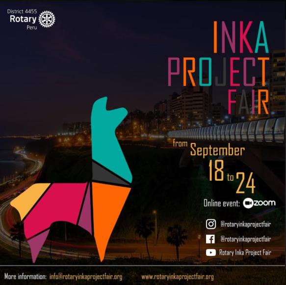 Poster der virtuellen Inka-Projekt-Ausstellung in Peru mit Daten, Social-Media-Adressen, als Maskottchen ist links ein stilisiertes, buntes Lama zu sehen